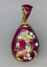 Russian Faux Egg Pendant w/clear Crystals Branching design in Red.