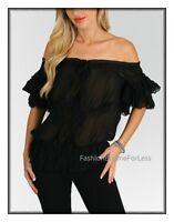 Black Haute Gypsy BOHO Bohemian Victorian Faux Silk Ruffle Chiffon Blouse Top
