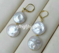 White Coin Pearl Dangle Baroque Earring Pair Of 11-12Mm South Sea Aaa+