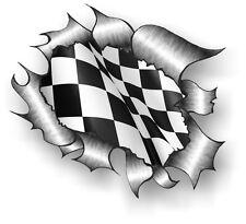 CLASSIC RIPPED TORN aperto metallo RIP & B&W chequred RACING FLAG controlli Adesivo Auto