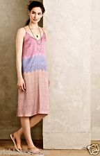 NEW Anthropologie Nomad pink purple Silky Ombre Chevron Stripe Slip Dress L