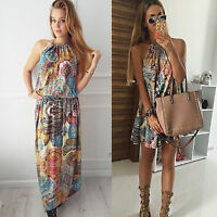 Women's Floral Boho Long Maxi / Mini Dress Party Beach Summer Holiday Sun Dress