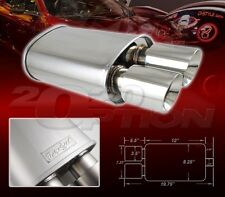 DUAL DOUBLE-WALL SLANT TIP MUFFLER OVAL SPUN-LOCK TANK FOR FORD HONDA POLISHED