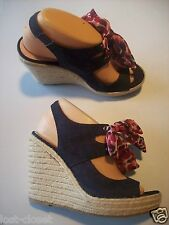 Crown Blue Denim Jeans Espadrille Platform Peep Toe Pumps Shoes Size 8 @ cLOSeT