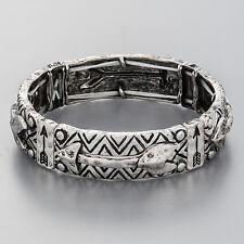 Antique Silver Arrow Design Stretchable Hammered Bangle Bracelet