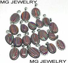 10 Pcs Lot Rainbow Calsilica Gemstone 925 Sterling Silver Plated Pendants
