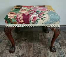 Vintage Antique Victorian Dressing Table Stool Claw Ball Cabriole Legs PATCHWORK