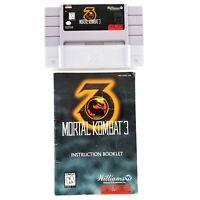 Mortal Kombat 3 (Super Nintendo Entertainment System) Authentic w/ Manual Tested