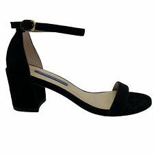 Stuart Weitzman Simple Ankle Strap Sandal Black Suede Size 5 1/2 5.5