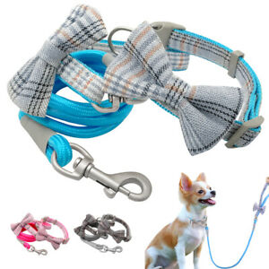 Grid Nylon Dog Collar and Lead set Bowtie Design Pet Puppy Walking Rope Poodles