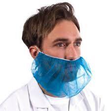 1000 x Supertouch Disposable Non-Woven Polypropylene Blue Beard Mask Food PPE