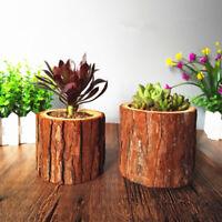 Retro Wood Flower Pot Vase Small Pots Wooden Succulent Planters Home Garden 2019