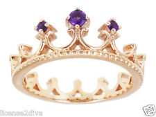 18K ROSE GOLD OVER STERLING SILVER GENUINE AMETHYST CROWN PRINCESS RING! 8!