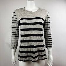 MADEWELL Gray Black Striped 3/4 Sleeve 100% Linen Top Womens Size S Small