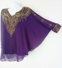 NEW GOLD SEQUIN BLOUSE PONCHO VEST SHIRTS WEDDING TOPS TUNIC CAPE PURPLE LADIESS