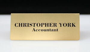 NAME DESK SIGN ALUMINIUM PERSONALISED VINYIL LETTERS 95mm x 38mm GOLD SILVER