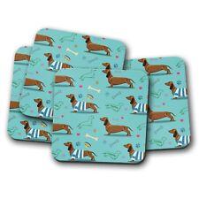 4 Set - Blue Dachshund Coaster - Cute Dog Puppy Pet Animal Hound Fun Gift #14806