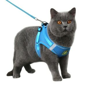 COLLER Puppy Cat Harness Vest With Walking Lead Adjustable Kitten Reflective