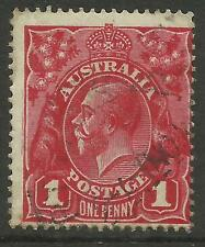 AUSTRALIA KGV KING GEORGE V One Penny Red 1d Single Watermark Used (No 76)