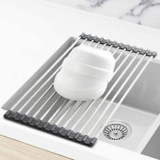 Blanco Escurreplatos de Platos con Bandeja de Goteo Warmiehomy 3-Niveles Escurridor de Platos de Acero Inoxidable 43 X 25 X 44cm
