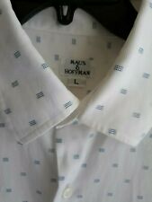 Maus Hoffman Button Down Shirt L Short Sleeve White Polka Square Dot Cotton