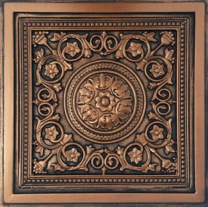 "Grid System, Pop In, 24"" x 24"", 3D, PVC Ceiling Tiles MAJESTY Copper/Black"