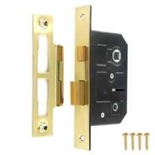 """Electro Brass Toilet / Bathroom Door Lock Mortice Reversible Privacy 64mm 2.5 """""""