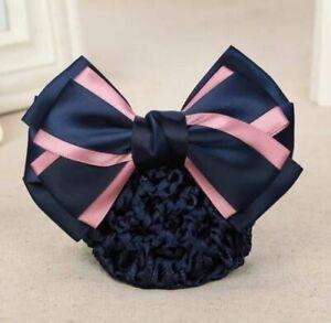 ERA Rhianna  Hair Bow Barrette Bun Snood - Navy Blue & Dusky Pink Satin