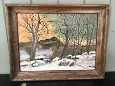 "Primitive Folkart Oil Painting In The Grandma Moses Style ""FARMSTEAD"" Oak Frame"