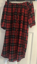 Quiz Clothing Ladies Red Tartan Off The Shoulder Dress Size 8
