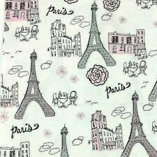 "Paris Fabric White/ Pink/ Black Cotton Glitter Eiffel Tower 1Yd 3""X 45"""