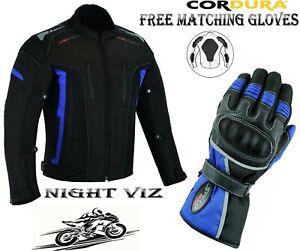 MENS BLUE / BLACK CE ARMOUR MOTORBIKE / MOTORCYCLE BLACK TEXTILE JACKET & GLOVES