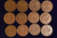 Lot of 12 pcs 1948 - Higher Grade pennies - XF+ Brown. Inv# C-61