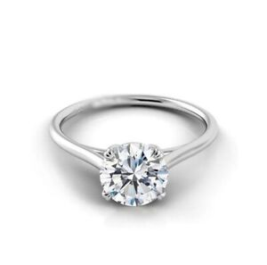 GIA CERTIFIED  14K GOLD 1.00CT NATURAL ROUND DIAMOND ANNIVERSARY SOLITAIRE RING