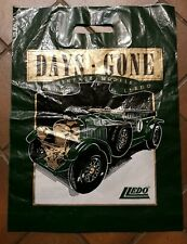 LLEDO DAYS GONE 1930 BENTLEY 1980s PLASTIC CARRIER BAG IN GREEN & GOLD