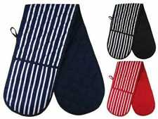 BLACK  COTTON INSULATED PADDED  COOKING KITCHEN DOUBLE  OVEN MITTS GLOVES