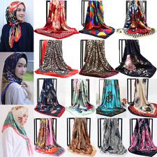 Women Print Satin-Silk Square Scarf Wrap Lady Shawl Beach Scarves Stole 90*90cm