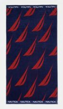 """Authentic 100% Cotton Nautica Beach Towel 36x68 """" New Vessels Red Navy"""