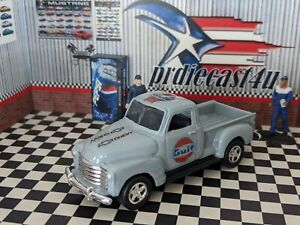 WELLY 1953 CHEVROLET 3100 PICK UP CUSTOM GULF LOOSE 1/64 SCALE with REAL RIDERS