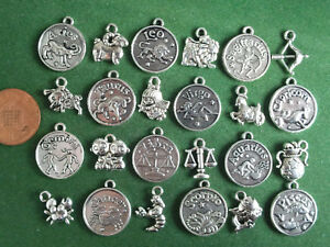 Zodiac Charms - antique silver - Horoscope Coins Symbols Mixed Sets Star Sign