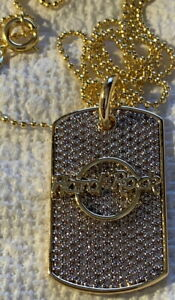 """Hard Rock Cafe Rhinestone Dog Tag Gold NECKLACE New with Tag! 8.5"""""""