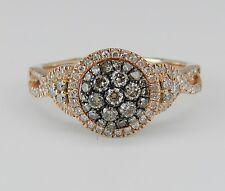 1.00 ct Diamond Cluster Ring Cognac Diamond Engagement Rose Pink Gold Size 7.25