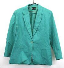 Adolfo International Women's Size 8 2-Piece Blazer Pants Suit Set Teal Green