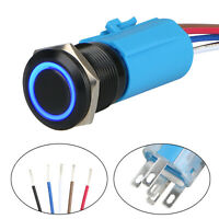 Blue LED 19mm Momentary ON/OFF Push Button Switch Wire Socket Plug Waterproof