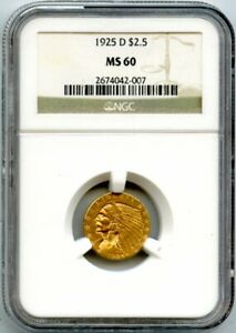1925-D $2.5 Two And A Half Dollar Gold Indian Head Quarter Eagle Coin NGC MS 60