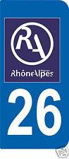 2 STICKERS RA 26 style PLAQUE D'IMMATRICULATION Département Région Rhône Alpes