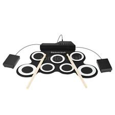 Portable Digital Electronic Roll Up Drum Set Kit w/ Drumsticks Foot Pedals Kids