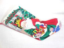 Needlepoint Santa Clause and Toy Bag Christmas Stocking decoration
