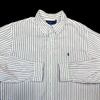 Polo Ralph Lauren Mens Custom Fit Button-Down Shirt Sz XXL Striped Red Blue