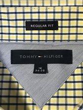 Tommy Hilfiger Button Front Dress Shirt L 16-34/35 Yellow Blue Checks